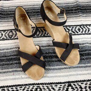 Toms Cork Wedge Black Heel Sandal Size 10